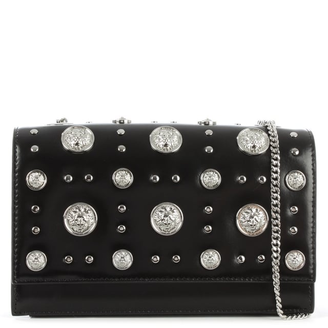 Embellished Black Leather Flapover Cross-Body Bag