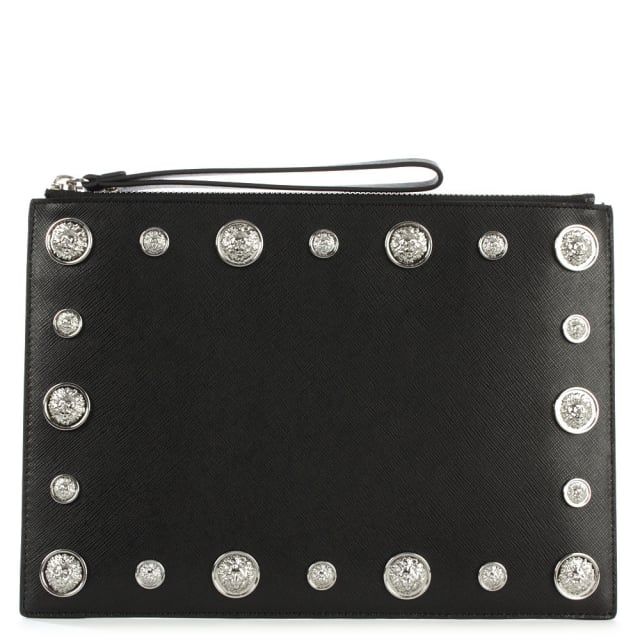 Embellished Black Leather Pouch