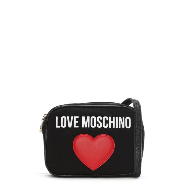 Love Moschino Emily Black Canvas Logo Heart Camera Bag
