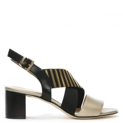 Emine Gold & Black Leather Striped Cross Strap Sandals