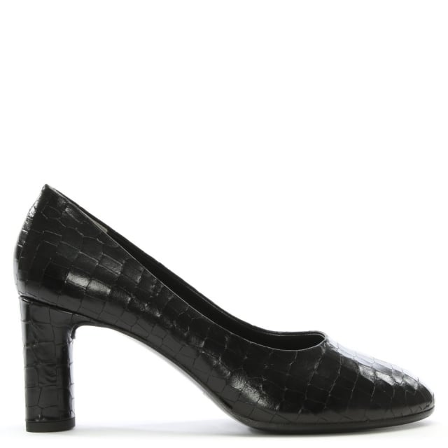 Robert Clergerie Empire Black Reptile Court Shoes
