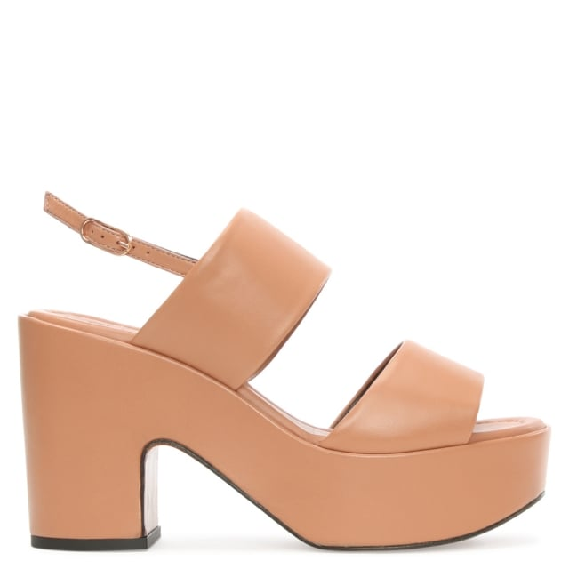 Robert Clergerie Emple Nude Leather Platform Double Strap Sandal