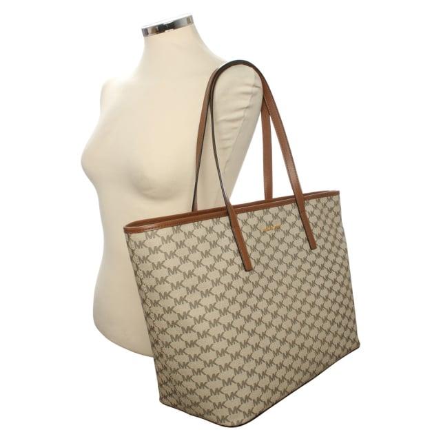 8bc76ffb3e27 Michael Kors Emry Natural Luggage Coated Canavas Top Zip Tote Bag