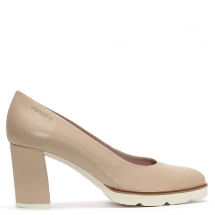 Enclose Beige Leather Cleated Court Shoes
