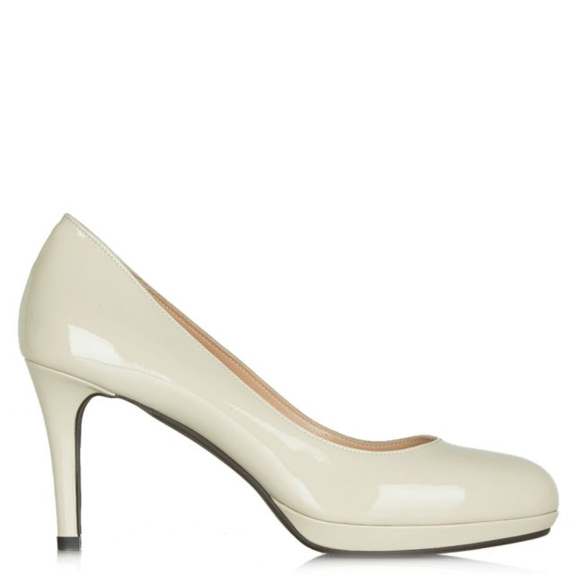 Engaging Beige Leather Patent Low Platform Court Shoe