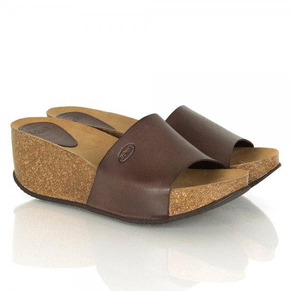 Scholl Enigan Wedge Brown Leather Sandals