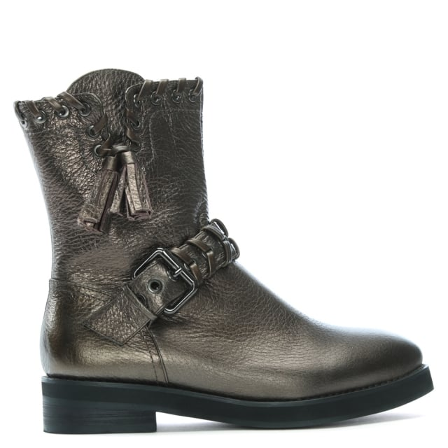 Lola Cruz Ennui Bronze Leather Whipstitch Biker Boots