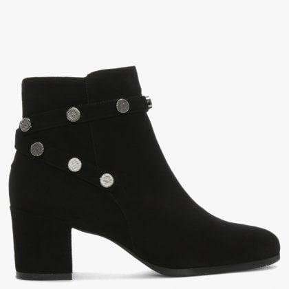 0e3dcc615ccb5 Enrich Black Suede Studded Block Heel Ankle Boots
