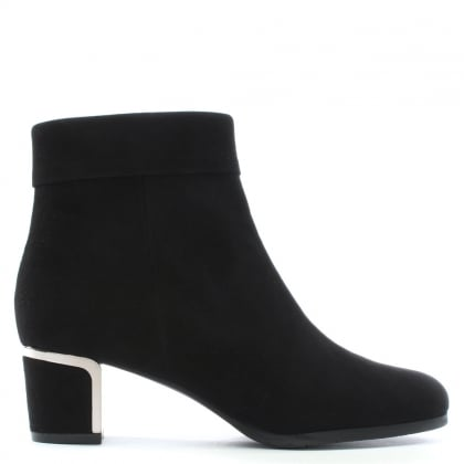 Enthusiasm Black Suede Metal Trim Heeled Ankle Boot