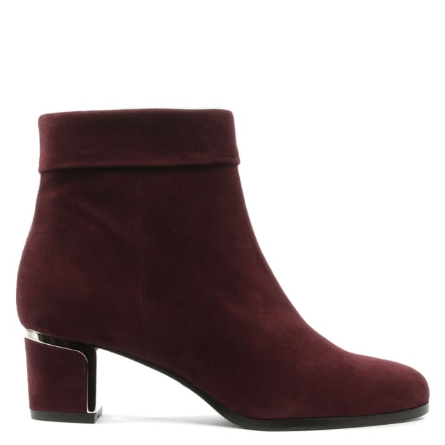 Enthusiasm Burgundy Suede Metal Trim Heeled Ankle Boot