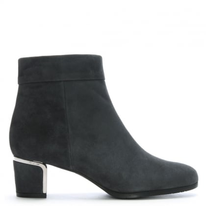Enthusiasm Grey Suede Metal Trim Heeled Ankle Boots