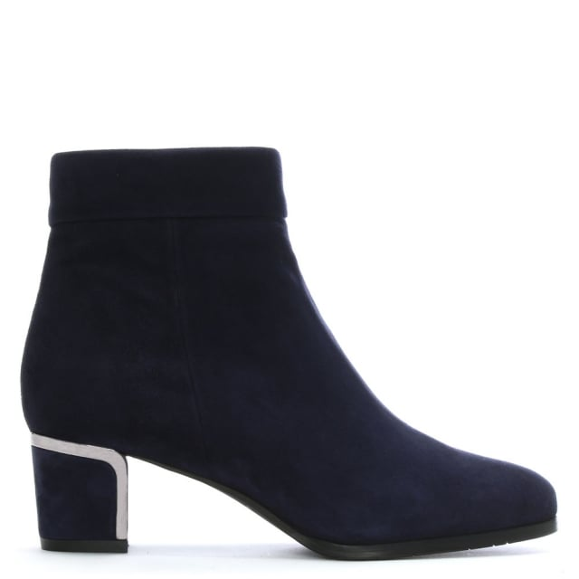 Enthusiasm Navy Suede Metal Trim Heeled Ankle Boot