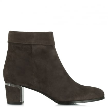 Enthusiasm Taupe Suede Metal Trim Heeled Ankle Boot