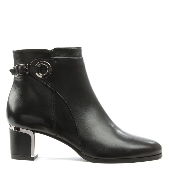 Enthusiastic Black Leather Metal Trim Buckle Ankle Boot