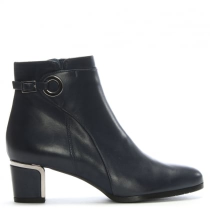 Enthusiastic Navy Leather Metal Trim Buckle Ankle Boot