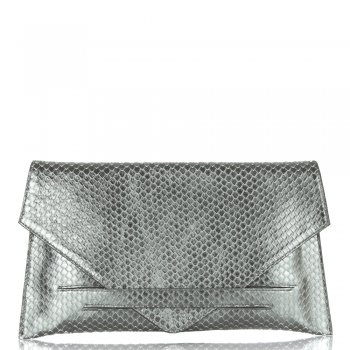 Envelope Silver Reptile Leather Clutch Bag