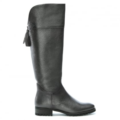 Enwright Sliver Metallic Leather Tassel Trim Riding Boots