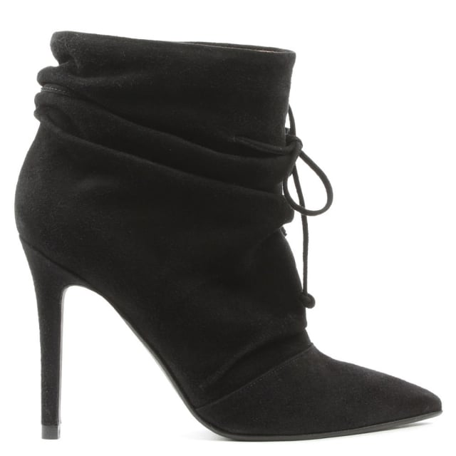 Erika Black Suede Rouched Front Ankle Boots