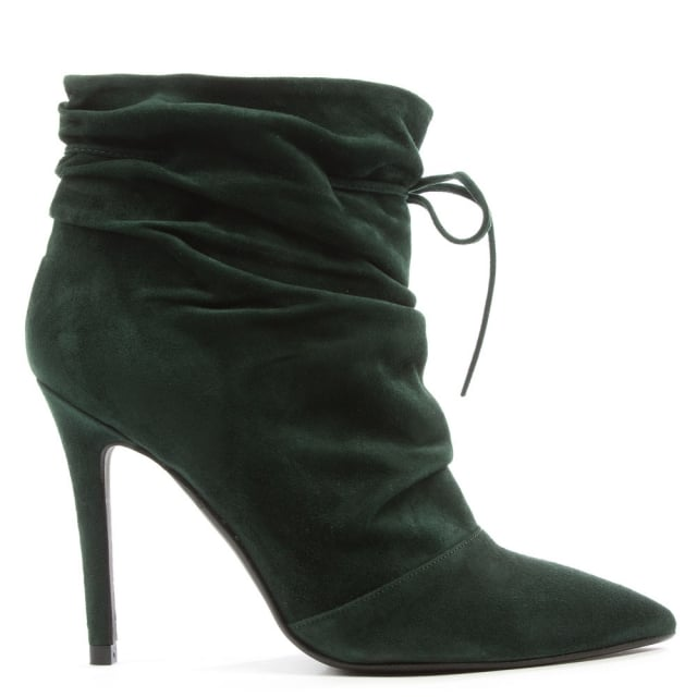 Erika Green Suede Ruched Front Ankle Boot