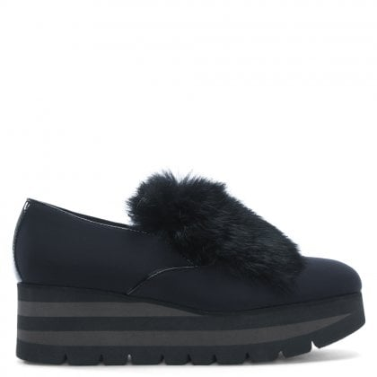 Eritrea Black Fur Trim Loafers