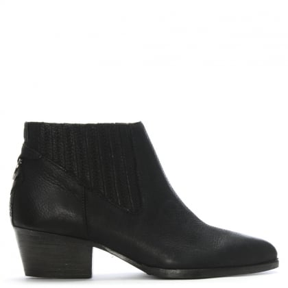 Ernest Black Leather Western Ankle Boots