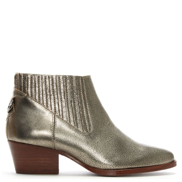Ernest Gold Leather Western Ankle Boots