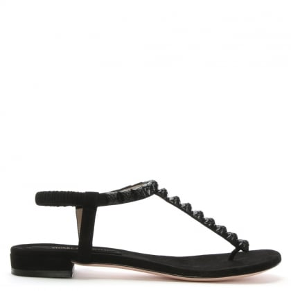 Esme Black Suede Studded Sandals