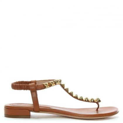 Esme Tan Leather Studded Sandals