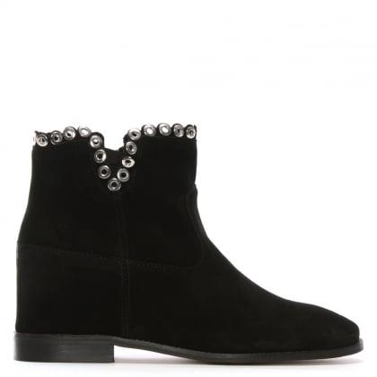 Essienda Black Suede Concealed Wedge Ankle Boots 4d336ee8ca