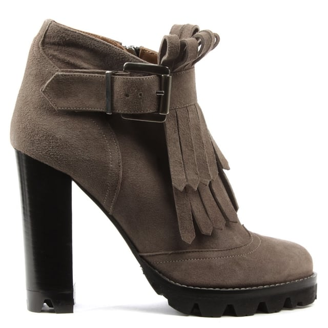 Esther Taupe Suede Tassel Front Block Heel Ankle Boot