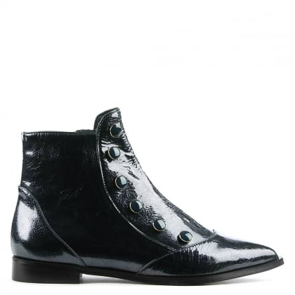Eunice Navy Patent Leather Embellished Ankle Boot