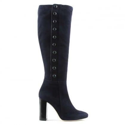 Eunice Navy Suede Embellished Knee Boot