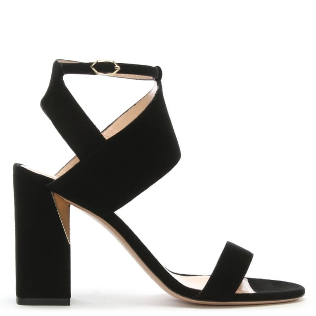 Eva 90 Black Suede Block Heel Sandals