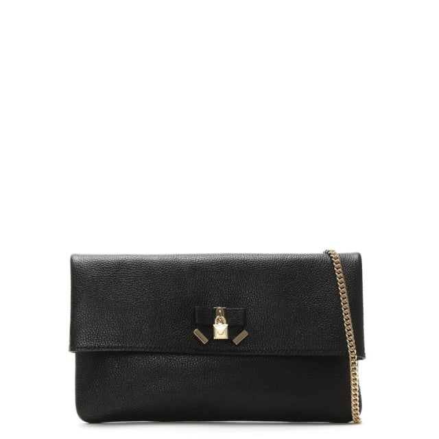 Everly Black Leather Clutch Bag