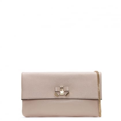 Everly Soft Pink Leather Clutch Bag