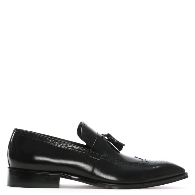 Evershot Black Leather Brogue Loafers
