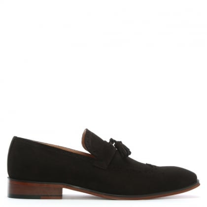 Evershot Brown Suede Brogue Loafers