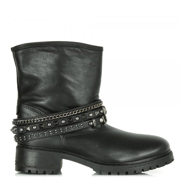 Evra Black Leather Women's Multi Strap Biker Boot