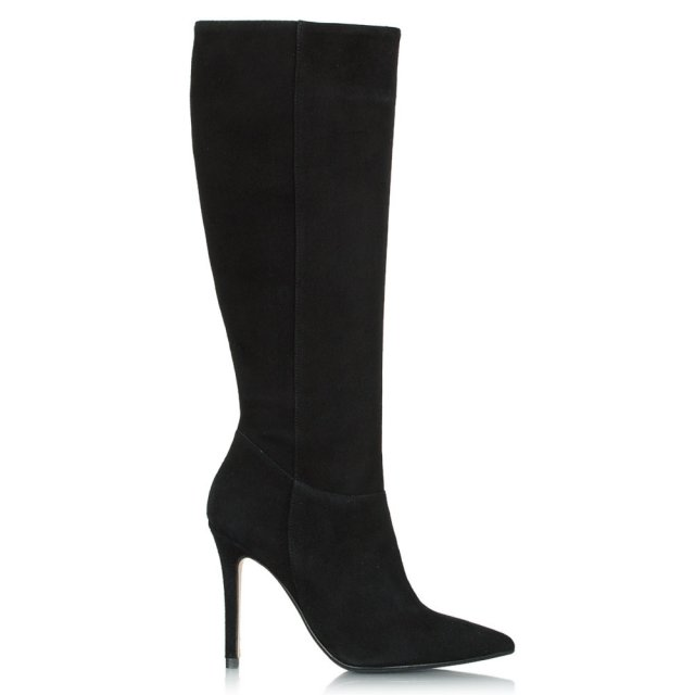 Excellence Black Suede Pointed Knee High Boot