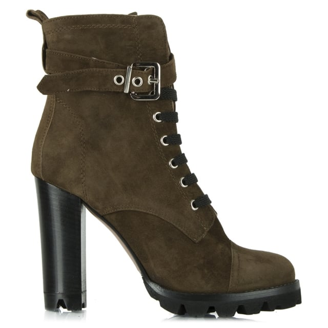 Exemplary Green Suede Hiker Heeled Ankle Boot