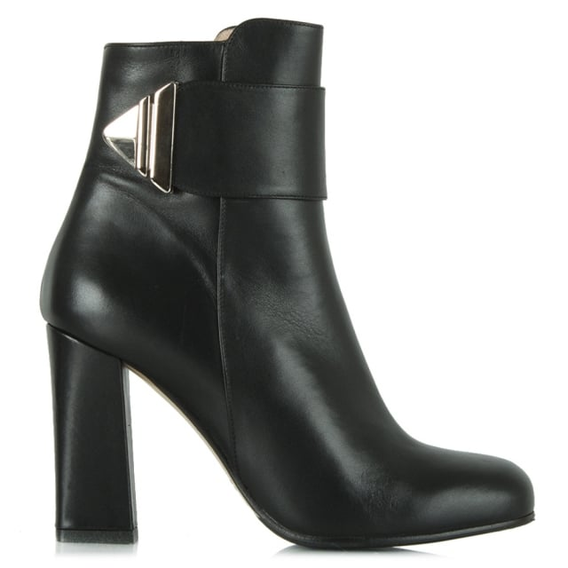 Exquisite Black Leather Buckle Strap Ankle Boot