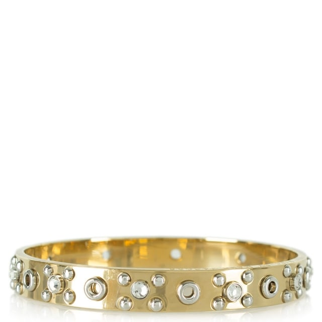 Eyelet Gold Enamel Bangle