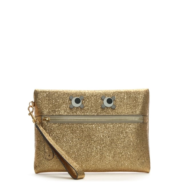 Anya Hindmarch Eyes Gold Metallic Leather Wristlet Pouch
