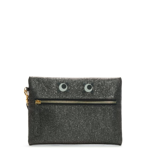 Anya Hindmarch Eyes Grey Metallic Leather Wristlet Pouch