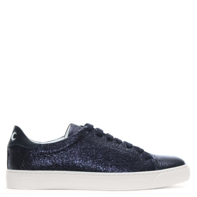 Anya Hindmarch Eyes Marine Crinkle Metallic Leather Lace Up Tennis Trainers