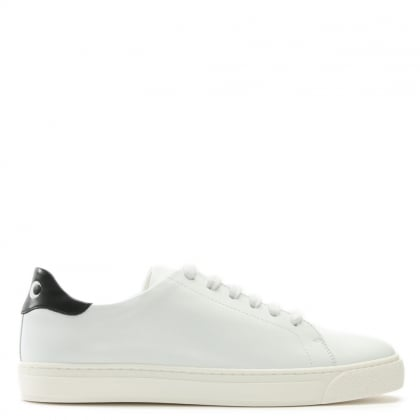 Eyes White Leather Lace Up Tennis Trainers