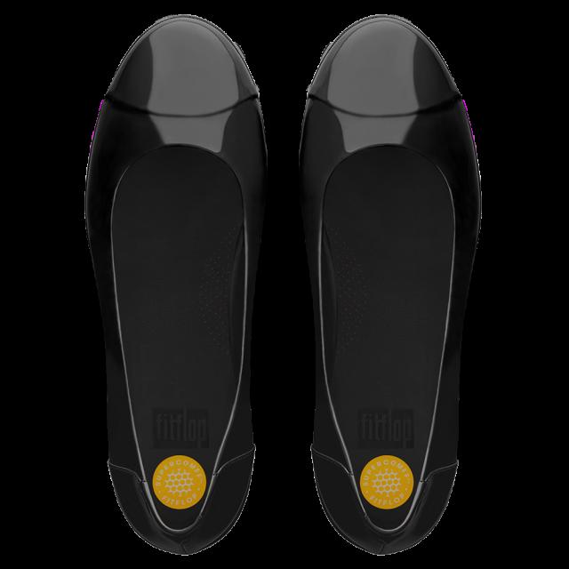 e52d4dd38 FitFlop F Pop Black Patent Leather Ballerina Pump