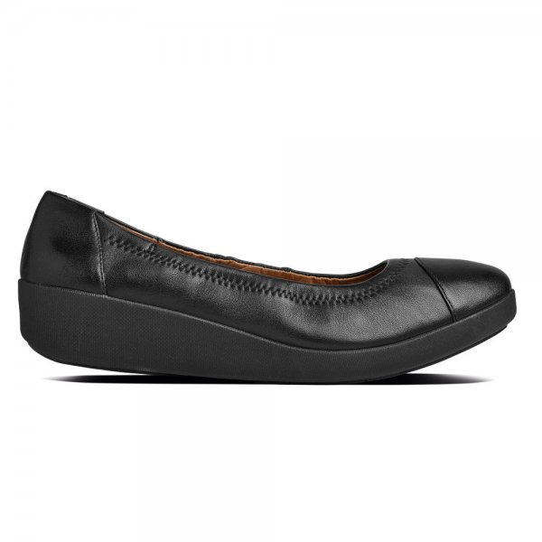 86c2ab37a85975 The FF2™ by FitFlop™ Collection F-Pop™ Leather All-Black Ballerina Pump