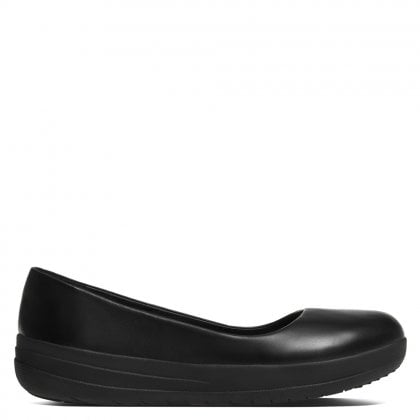 F Sporty Black Leather Ballerina Flats