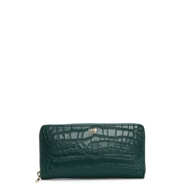 Fame Green Moc Croc Leather Zip Around Wallet